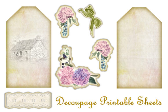 Download Free Decoupage Tags Kit Graphic By Digitalcraftsco Creative Fabrica for Cricut Explore, Silhouette and other cutting machines.