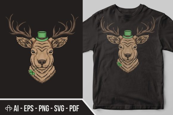 Download Free Deer Head St Patrick S Day Graphic By Andypp Creative Fabrica for Cricut Explore, Silhouette and other cutting machines.