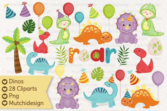 Print on Demand: Dinos Cliparts Graphic Illustrations By Mutchi Design