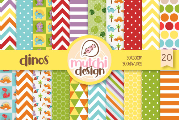 Print on Demand: Dinos Digital Papers Graphic Backgrounds By Mutchi Design