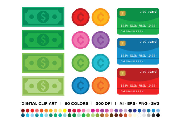 Download Free Dollars Cents Credit Cards Clip Art Graphic By Running With for Cricut Explore, Silhouette and other cutting machines.