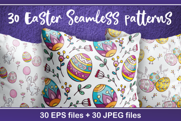 Print on Demand: Easter Seamless Patterns in Doodle Style Graphic Patterns By Olga Belova