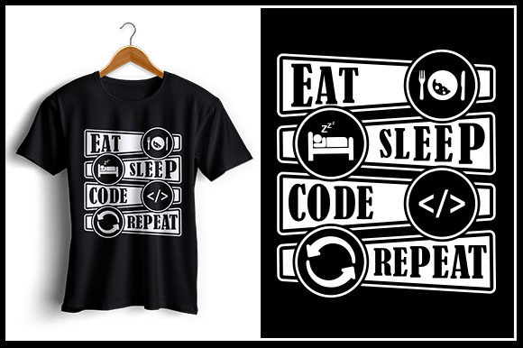Download Free Eat Sleep Code Repeat Graphic By Zaibbb Creative Fabrica for Cricut Explore, Silhouette and other cutting machines.