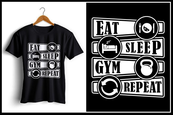 Download Free Eat Sleep Gym Repeat Graphic By Zaibbb Creative Fabrica for Cricut Explore, Silhouette and other cutting machines.