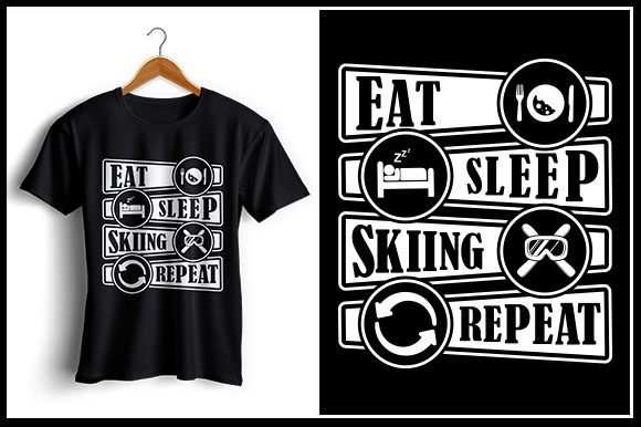 Download Free Eat Sleep Skiing Repeat Graphic By Zaibbb Creative Fabrica for Cricut Explore, Silhouette and other cutting machines.