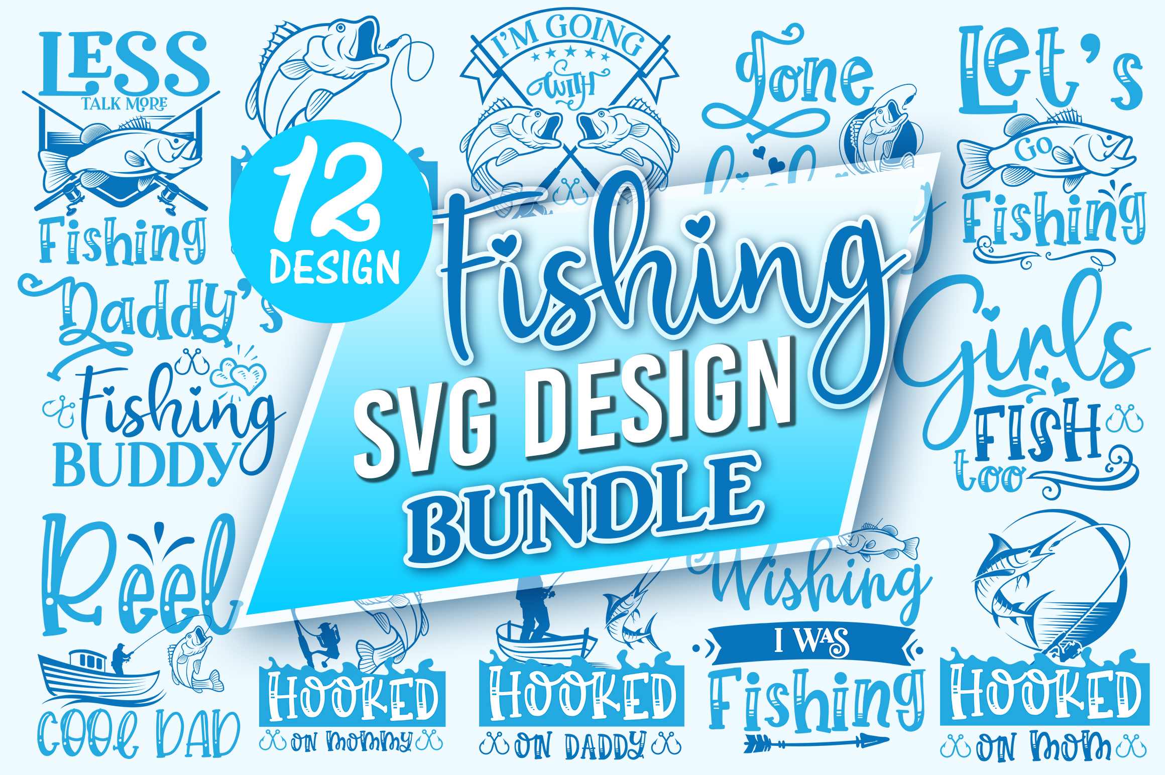 Download Free Fishing Design Bundle Graphic By Designfarm Creative Fabrica for Cricut Explore, Silhouette and other cutting machines.
