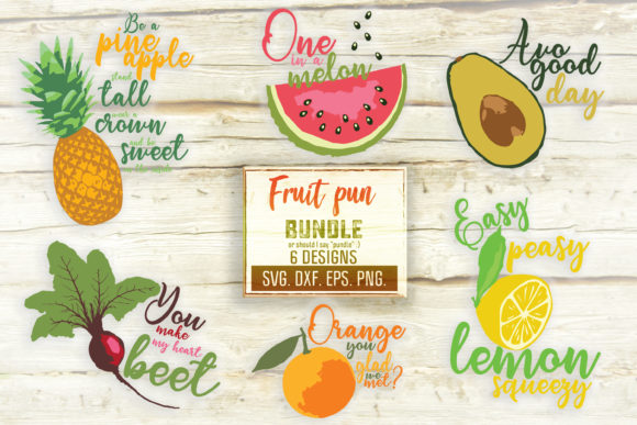 Print on Demand: Funny Fruit Saying Svg Bundle for Crafts Graphic Crafts By SVGlaboratory