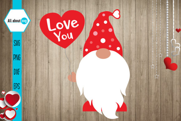 Gnome Love Svg, Valentines Gnomie Svg Gráfico Crafts Por All About Svg