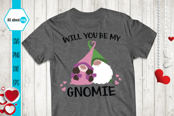 Download Free Gnomies Love Valentines Gnome Graphic By All About Svg for Cricut Explore, Silhouette and other cutting machines.