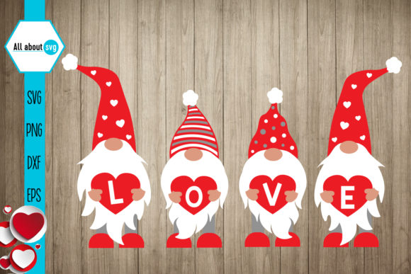 Gnomies Love Svg, Valentines Gnomies Svg Gráfico Crafts Por All About Svg