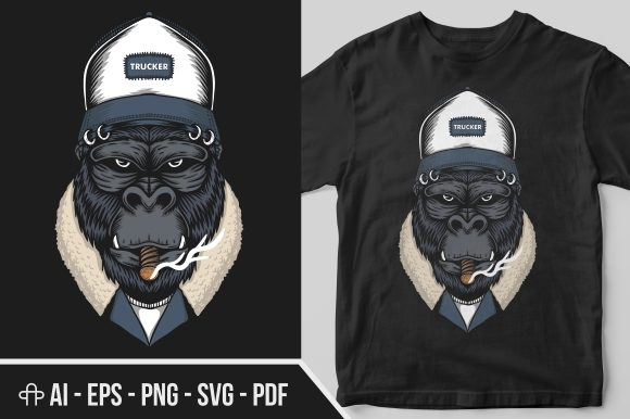 Print on Demand: Gorilla Head Trucker Illustration Graphic Illustrations By Andypp