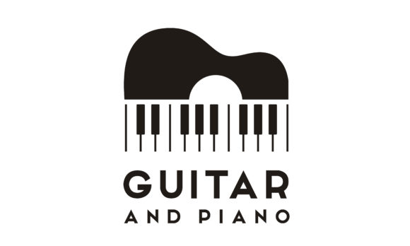 Guitar Strings And Piano Key Music Logo Graphic By Enola99d
