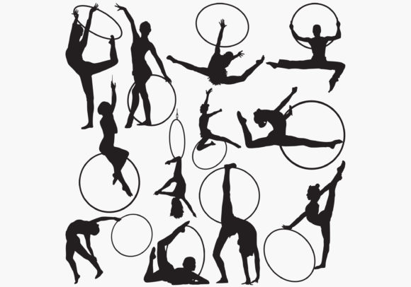 Download Free Gymnastic Rhythmic Hoop Silhouettes Graphic By Octopusgraphic for Cricut Explore, Silhouette and other cutting machines.