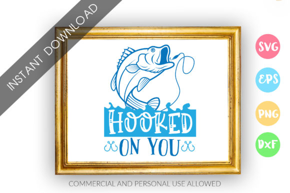 Print on Demand: HOOKED on You SVG Graphic Crafts By DesignFarm - Image 1