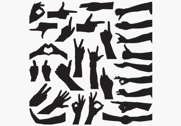 Hand-sign Silhouettes Graphic Crafts By octopusgraphic