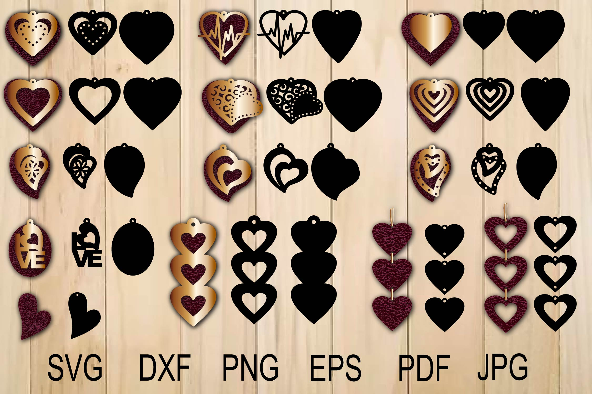 Download Free Heart Earring Template Graphic By Yulnniya Creative Fabrica for Cricut Explore, Silhouette and other cutting machines.