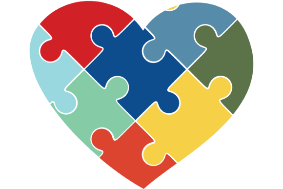 Print on Demand: Heart Shaped Autism Puzzle Piece SVG Graphic Print Templates By Angela Wheeland