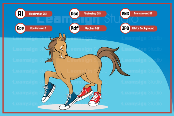 Download Free Horse Cartoon Wearing Shoes Graphic By Leamsign Creative Fabrica for Cricut Explore, Silhouette and other cutting machines.