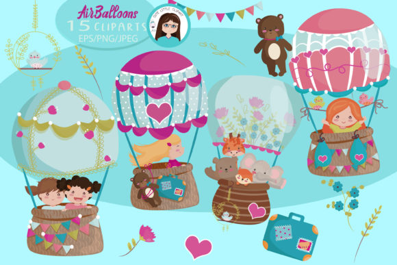 Hot Air Balloon Cliparts Graphic Illustrations By CuteLittleClipart