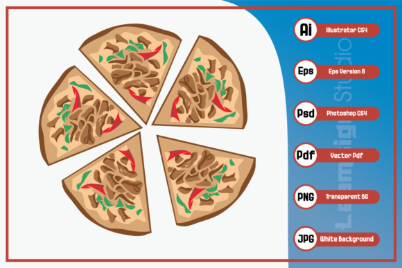 Print on Demand: Illustration of Five Slices Pizza Design Graphic Icons By leamsign