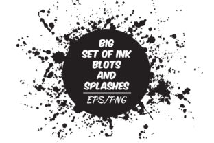 Ink Blots and Splashes Set Graphic Objects By EvgeniiasArt