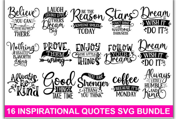 Print on Demand: Inspirational SVG Bundle Graphic Print Templates By Designdealy.com