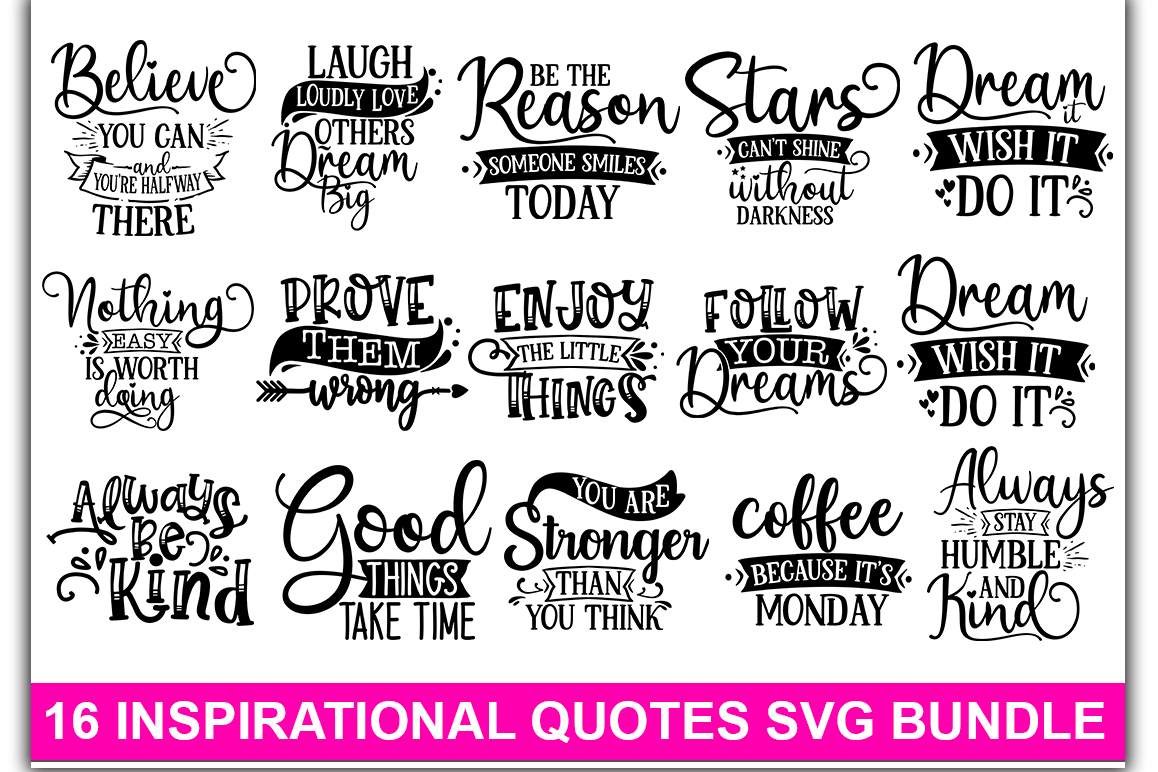 Download Free Inspirational Bundle Graphic By Designdealy Com Creative Fabrica for Cricut Explore, Silhouette and other cutting machines.