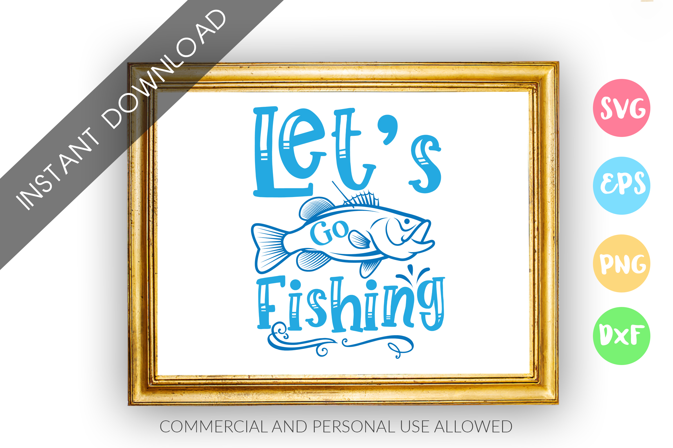 Download Free Lets Go Fishing Graphic By Designfarm Creative Fabrica for Cricut Explore, Silhouette and other cutting machines.