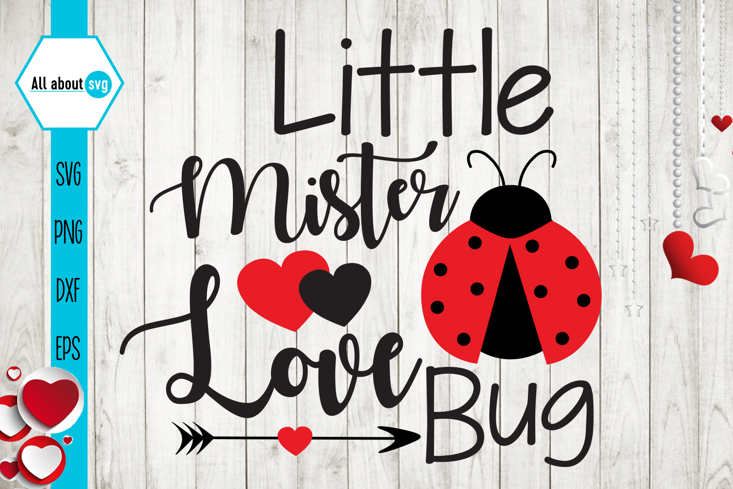 Download Free Little Mister Love Bug Valentines Graphic By All About Svg for Cricut Explore, Silhouette and other cutting machines.