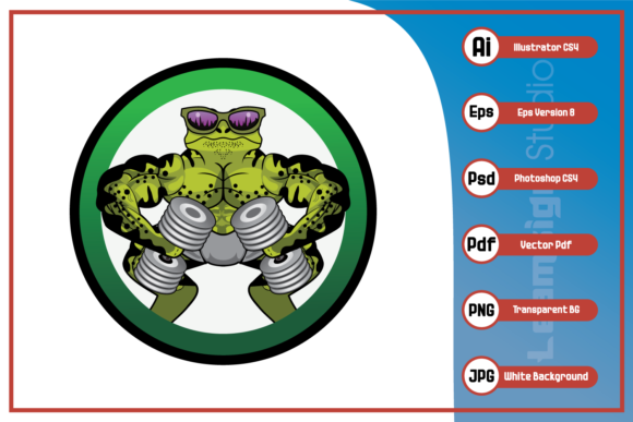 Print on Demand: Lizard Fitness Body Builder Design Graphic Icons By leamsign