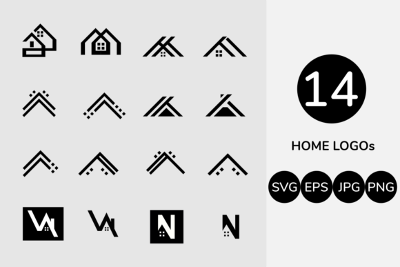 Download Free Logo Set Home Building Logo Bundling Graphic By Ermindalt for Cricut Explore, Silhouette and other cutting machines.