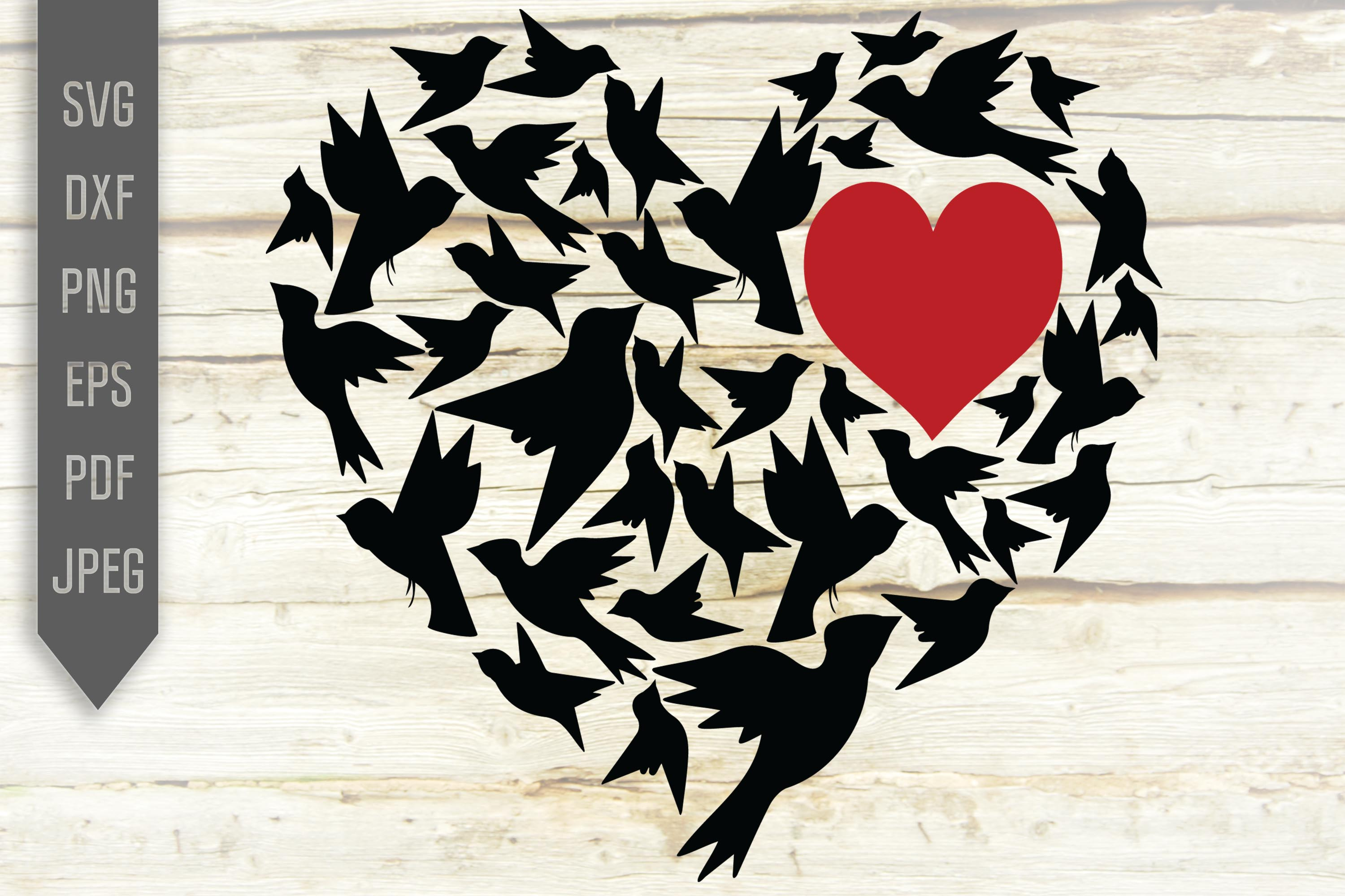 Download Free Love Birds In Heart Svg Valentine Crafts Graphic By for Cricut Explore, Silhouette and other cutting machines.