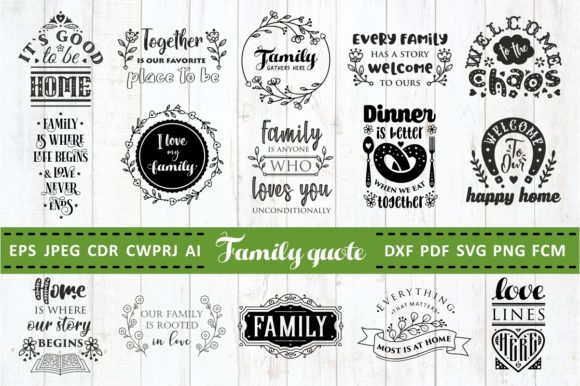 Print on Demand: Love Family Quotes. SVG Bundle. Vol. 2 Gráfico Crafts Por millerzoa