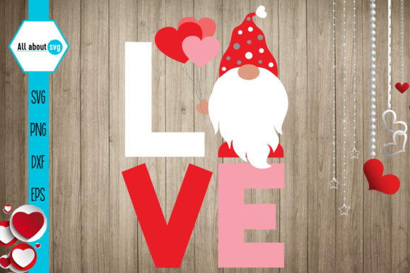 Love Gnome Valentine's Gnome Graphic Crafts By All About Svg - Image 1