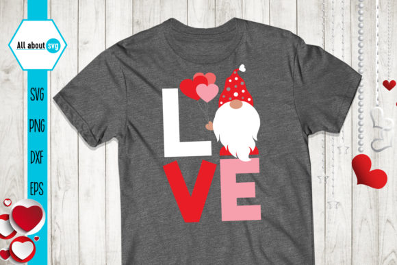 Love Gnome Valentine's Gnome Graphic Crafts By All About Svg - Image 4