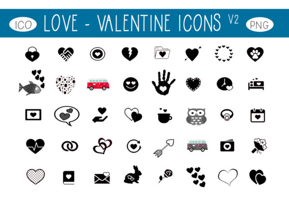 Print on Demand: Love Valentine Icons V2 Gráfico Iconos Por capeairforce