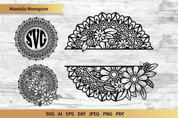 Download Free Mandala Split Monogram Graphic By Elinorka Creative Fabrica for Cricut Explore, Silhouette and other cutting machines.