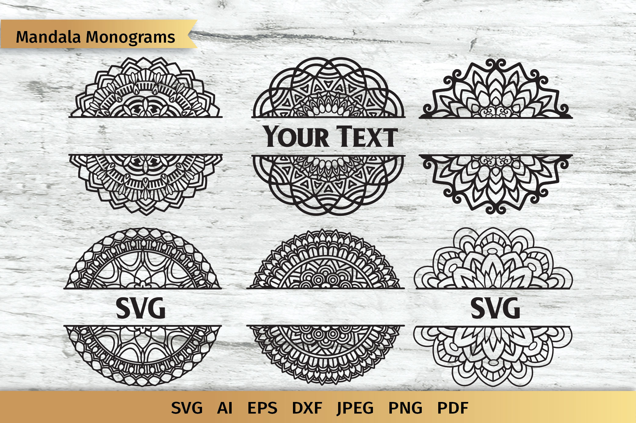 Download Free Mandala Split Monogram Svg Graphic By Elinorka Creative Fabrica for Cricut Explore, Silhouette and other cutting machines.