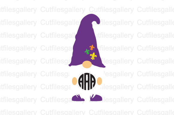 Download Free Mardi Gras Gnome Monogram Svg Graphic By Cutfilesgallery for Cricut Explore, Silhouette and other cutting machines.