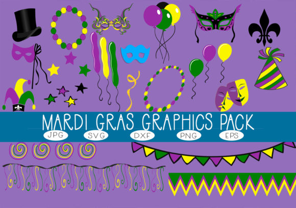Download Free Mardi Gras Graphics Pack Graphic By Capeairforce Creative Fabrica for Cricut Explore, Silhouette and other cutting machines.