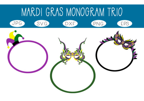 Print on Demand: Mardi Gras Monogram Trio Graphic Illustrations By capeairforce - Image 1