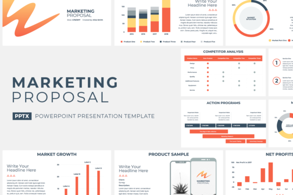 Marketing Proposal PowerPoint Template Graphic Presentation Templates By JetzTemplates