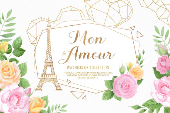 Print on Demand: Mon Amour Watercolor Collection Graphic Illustrations By Nata Art Graphic - Image 1