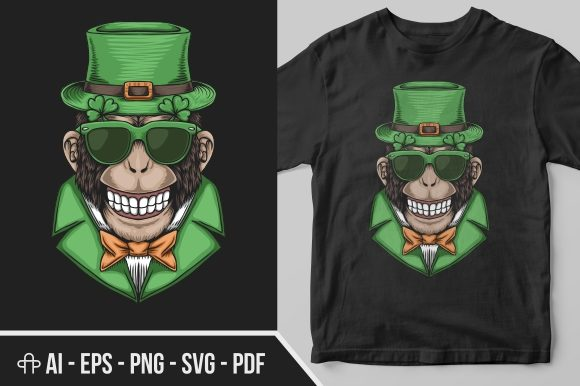 Monkey Head St. Patrick's Day Graphic Illustrations By Andypp