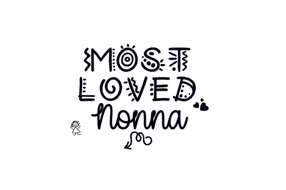 Print on Demand: Most Loved Nonna in a Fun Font Graphic Graphic Print Templates By AM Digital Designs