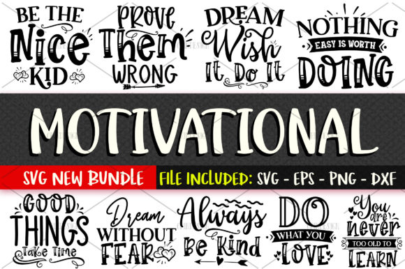 Print on Demand: Motivational SVG Bundle Vol 1 Graphic Crafts By OrinDesign