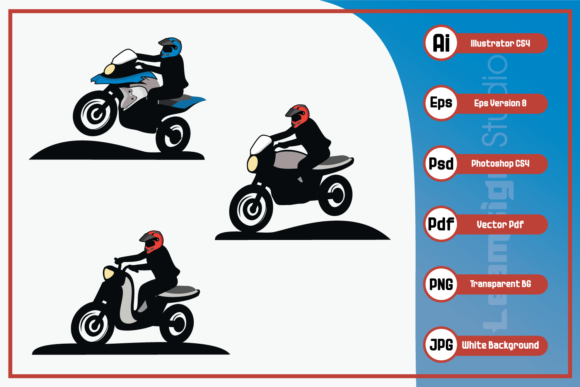 Print on Demand: Motorbike Touring Riding Motorcycle Graphic Icons By leamsign