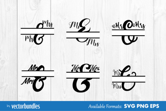 Download Free Mr And Mrs Monogram Split Svg Graphic By Vectorbundles for Cricut Explore, Silhouette and other cutting machines.
