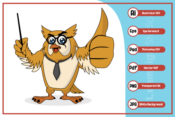 Print on Demand: Owl Teacher Cartoon Character Design Graphic Icons By leamsign