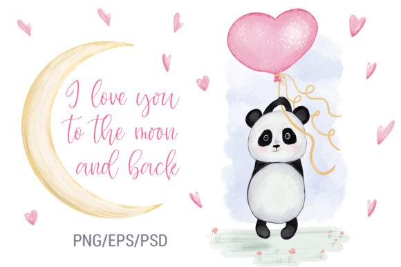 Print on Demand: Panda with Balloon Heart. Valentine's Da Gráfico Ilustraciones Por PawStudio